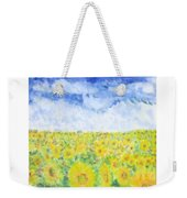 Sunflowers In A Field In  Texas Weekender Tote Bag