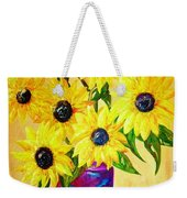 Sunflowers In A Red Pot Weekender Tote Bag