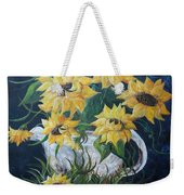 Sunflowers In An Antique Country Pot Weekender Tote Bag by Eloise Schneider