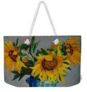 Sunflowers In Blue Vase Weekender Tote Bag