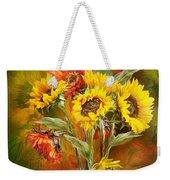 Sunflowers In Sunflower Vase Weekender Tote Bag by Carol Cavalaris