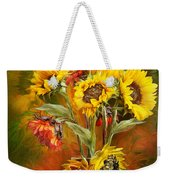 Sunflowers In Sunflower Vase - Square Weekender Tote Bag