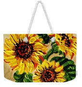 Sunflowers On Wooden Board Weekender Tote Bag