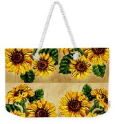 Sunflowers Pattern Country Field On Wooden Board Weekender Tote Bag