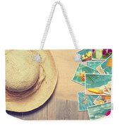 Sunhat And Postcards Weekender Tote Bag by Amanda Elwell