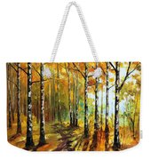 Sunny Birches - Palette Knife Oil Painting On Canvas By Leonid Afremov Weekender Tote Bag
