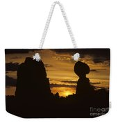 Sunrise Arches National Park With Balanced Rock Silhouetted Agai Weekender Tote Bag