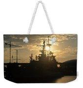 Sunrise At The Naval Base Silhouette Erie Basin Marina V1 Weekender Tote Bag