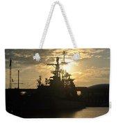 Sunrise At The Naval Base Silhouette Erie Basin Marina V3 Weekender Tote Bag