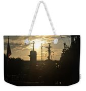 Sunrise At The Naval Base Silhouette Erie Basin Marina V4 Weekender Tote Bag