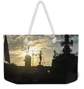 Sunrise At The Naval Base Silhouette Erie Basin Marina V5 Weekender Tote Bag