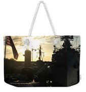 Sunrise At The Naval Base Silhouette Erie Basin Marina V6 Weekender Tote Bag