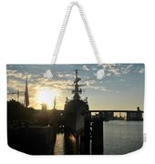 Sunrise At The Naval Base Silhouette Erie Basin Marina V7 Weekender Tote Bag