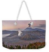 sunrise at vulcano Bromo with sea of sand vulcano Semeru with eruption Java Indonesia Weekender Tote Bag