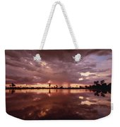 Sunset And Clouds Over Waterhole Weekender Tote Bag