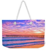 Sunset At Cayucos Pier Weekender Tote Bag