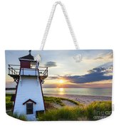 Sunset At Covehead Harbour Lighthouse Weekender Tote Bag by Elena Elisseeva