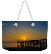 Sunset At Crystal Beach Pier Weekender Tote Bag