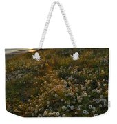 Sunset At The Beach  White Flowers On The Sand Weekender Tote Bag by Guido Montanes Castillo