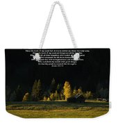 Sunset At The Cabin With Scripture Weekender Tote Bag