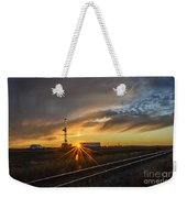Sunset At The Edge Of Oil Rigs Weekender Tote Bag