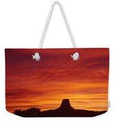 Sunset Behind Devil's Tower Weekender Tote Bag