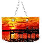Sunset Fishing At The Pier Weekender Tote Bag