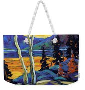Sunset Geo Landscape Original Oil Painting By Prankearts Weekender Tote Bag
