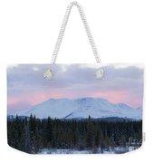 Sunset Glow Behind Winterly Little Peak Yt Canada Weekender Tote Bag