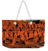 Sunset Light Turns The Hoodoos Blood Red In Goblin Valley State Park Utah Weekender Tote Bag