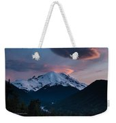 Sunset Mount Rainier Weekender Tote Bag