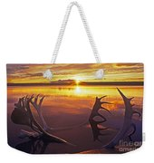 Sunset On Caribou Antlers In Whitefish Lake Weekender Tote Bag