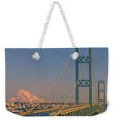 1a4y20-v-sunset On Rainier With The Tacoma Narrows Bridge Weekender Tote Bag