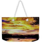 Sunset Over A Country Pond Weekender Tote Bag
