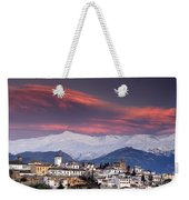 Sunset Over Granada And The Alhambra Castle Weekender Tote Bag