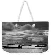 Sunset Over The Gulf Of Thailand Black And White Weekender Tote Bag