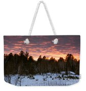 Sunset Over The Winter Forest Weekender Tote Bag