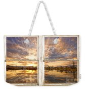 Sunset Reflections Golden Ponds 2 White Farm House Rustic Window Weekender Tote Bag