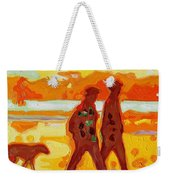 Sunset Silhouette Carmel Beach With Dog Weekender Tote Bag