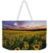 Sunset Sunflowers Weekender Tote Bag by Debra and Dave Vanderlaan