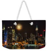 Super Moon Over Nyc Weekender Tote Bag by Susan Candelario
