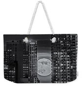 Super Moon Rises Over The Big Apple Bw Weekender Tote Bag by Susan Candelario
