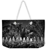Surf Board Fence Maui Hawaii Black And White Weekender Tote Bag by Edward Fielding