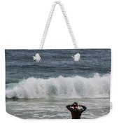 Surfer Checking The Waves Weekender Tote Bag