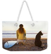 Surfer Woman And Dog On Beach Weekender Tote Bag
