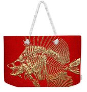 Surgeonfish Skeleton In Gold On Red  Weekender Tote Bag