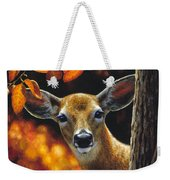 Whitetail Deer - Surprise Weekender Tote Bag by Crista Forest