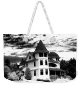 Surreal Black White Mackinac Island Michigan Infrared Victorian Home Weekender Tote Bag