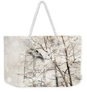 Surreal Dreamy Winter White Church Trees Weekender Tote Bag