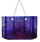 Surreal Fantasy Starry Night Purple Woodlands - Purple Blue Fantasy Nature Fairy Lights  Weekender Tote Bag
